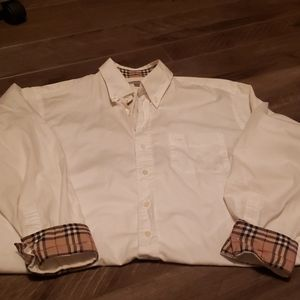 Mens classic Burberry button up, XL